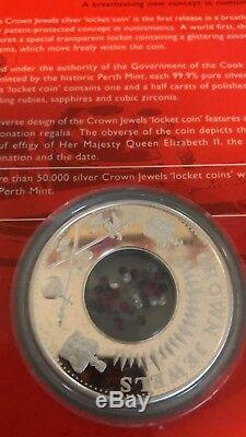 Cook Islands 2002 Crown Jewels. 999 Silver Locket Coin Perth Mint Rare $1