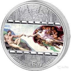 Cook Islands 2008 Masterpieces of Art MICHAELANGELO CREATION of ADAM 3 Oz Silver