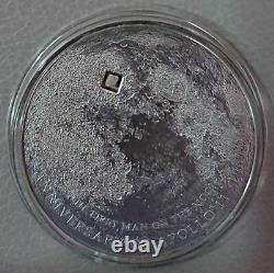 Cook Islands 2009 5$ MOON LUNAR METEORITE Antique Silver Coin