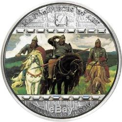Cook Islands 2010 20$ VASNETSOV Three Bogatyrs Masterpieces Art 3 Oz Silver Coin