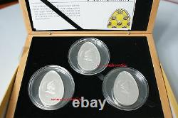 Cook Islands 2010 3x 5$ Imperial Eggs in Cloisonné Egg Silver Proof Coin SET BOX