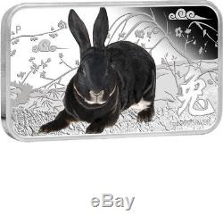 Cook Islands 2011 $1 Year Of The Rabbit 4 X 1 Oz Silver Proof Rectangle Coin Set