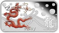 Cook Islands 2012 1$ Year of the Dragon Rectang Proof 4 x 1 Oz Silver Coin Set