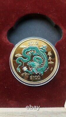 Cook Islands 2012 100dollars Dragon 1/2oz Proof Gold Coin