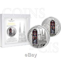 Cook Islands 2013 10$ Cathedral Our Lady CHARTRES Windows Of Heaven 50g Proof Ag