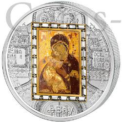 Cook Islands 2013 20$ Icon Virgin of Vladimir MoA-Deluxe 3oz Proof Silver & Gold