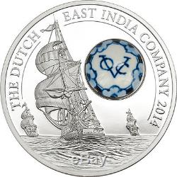 Cook Islands 2014 10$ Royal Delft Dutch East India Company Porcelain Silver Coin
