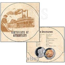 Cook Islands 2014 25$ Mississippi Steamboat 5oz Mother of Pearl Proof Ag Coin