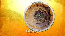 Cook Islands 2014 5$ METEORITE MOLDAVITE IMPACT 1 Oz Silver Coin Real Meteorite