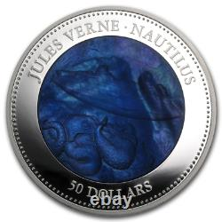 Cook Islands 2014 50$ Nautilus Jules Verne Captain Nemo Mother Of Pearl Silver
