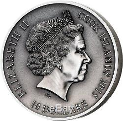 Cook Islands 2015 10$ The Norse Gods ODIN 2oz Antique finish Silver Coin