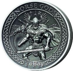 Cook Islands 2015 10$ The Norse Gods Tyr 2 oz Antique finish Silver Coin