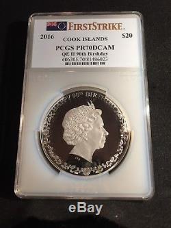 Cook Islands 2016 20$ Silver Coin 3 oz 90th Birthday Queen Elisabeth II