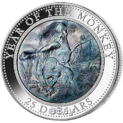 Cook Islands 2016 25$ Lunar MONKEY 5oz with Mother of Pearl Proof Silver Coin