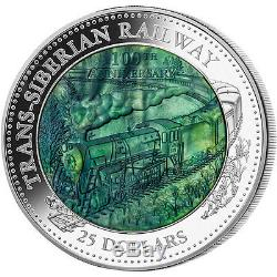 Cook Islands 2016 25$ Trans-Siberian Railway 5oz Mother of Pearl Proof Ag Coin