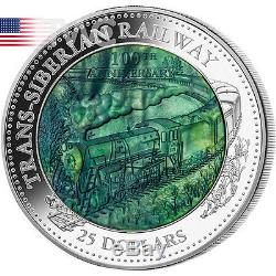 Cook Islands 2016 25$ Trans-Siberian Railway 5oz Mother of Pearl Proof Silver