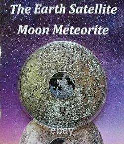 Cook Islands 2017, 20$ MOON Meteorite, 3 oz Pure Silver Earth Satellite US Ship