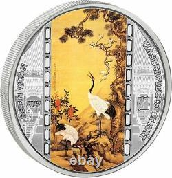 Cook Islands 2017 20$ Masterpieces of Art Shen Quan Cranes 3oz Silver Coin 30