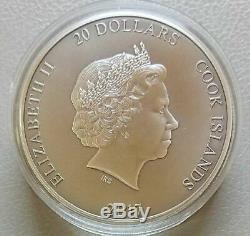 Cook Islands 2017 20$ QUETZALCOATL Aztecs God 3 Oz Antique Silver Coin #333