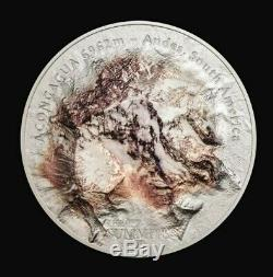 Cook Islands 2018 5 oz Silver Coin Aconcagua 7 Summits High Relief