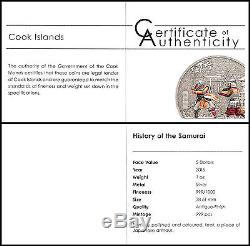 Cook Islands $5 Dollar, 1 oz. Silver Proof Coin, History of the Samurai, Japan