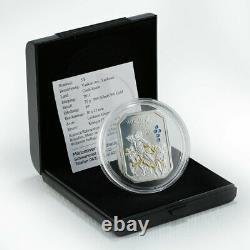 Cook Islands, $5, Vatican Art Laokoon, Swarovski crystals, silver coin, 2011
