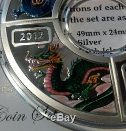 Cook Islands SET 4 x 1 dollar 2012 Lunar Year of the Dragon Silver 2oz 2