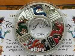 Cook Islands SET 4 x 1 dollar Year of the Dragon Colorized Silver 2 Oz 2012 year