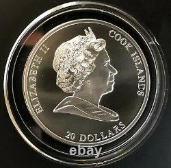 Cook Islands Silver Coin 20 Dollars 2008 3 Oz Leonardo Da Vinci+Certifikate+Box