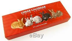 Cook Islands, set of 4x1$, 2011 Year of the Rabbit, Lunar Calendar, Silver Coins