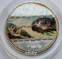 Cook islands 20 dollar 2008 Masterpieces of Art Creation of Adam 3 Oz Silver 3