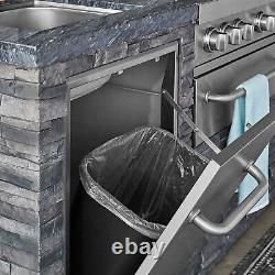 Deluxe Stacked Stone 4 Burner Grill Island, 78K BTU's, 765 sq. In. Cooking area
