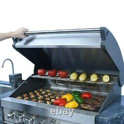Deluxe Stacked Stone 4 Burner Grill Island, Grill Cover Included