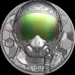 FIGHTER PILOT Real Heroes 3 Oz Silver Coin 20$ Cook Islands 2020