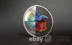 FIGHTING FISH Eclectic Nature 1 Oz Silver Coin 5$ Cook Islands 2021