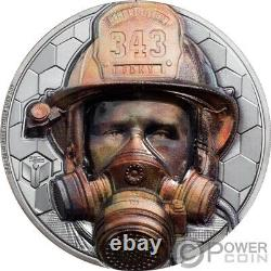 FIREFIGHTER Real Heroes 3 Oz Silver Coin 20$ Cook Islands 2021