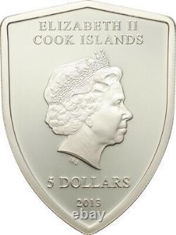 Ferrari 2013, Cook Islands, Silver, 5Dollar PP, Ferrari coat of arms, Shield