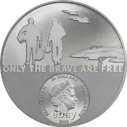 Fighter Pilot Real Heroes 3 oz Black Proof Silver Coin 20$ Cook Islands 2020