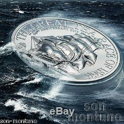 GREAT TEA RACE 2 OZ 2016 Cook Islands Ultra High Relief. 999 Silver Proof Coin