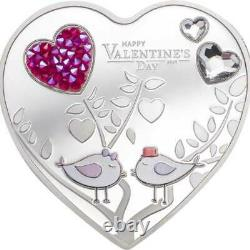 Happy Valentines Day Silver Hearts Proof Silver Coin 5$ Cook Islands 2021