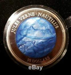 Jules Verne Nautilus 2014 Cook Islands 5 Oz 999 Silver Coin With Mother Pearl