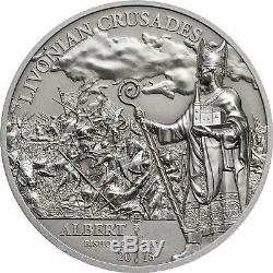 LIVONIAN CRUSADE Northern History 1 Oz Silver Coin 5$ Cook Islands 2018