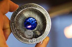 METEORITE CAMPO DEL CIELO Chaco Crater 3 Oz Silver Coin 20$ Cook Islands 2016