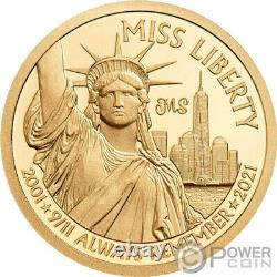 MISS LIBERTY PF70 9/11 By Miles Standish Gold Coin 5$ Cook Islands 2021