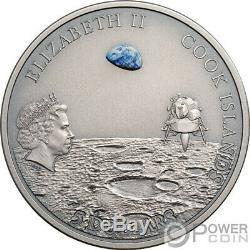 MOON LANDING Footprint Meteorite 1 Oz Silver Coin 5$ Cook Islands 2019