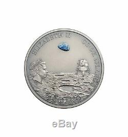 MOON LANDING Footprint Meteorite 1 Oz Silver Coin 5$ Cook Islands 2019
