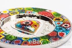 MURRINE MILLEFIORI GLASS ART Venetian Murano Silver Coin 5$ Cook Islands 2015