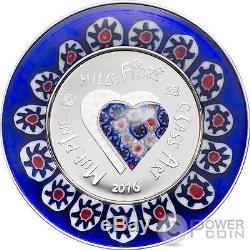 MURRINE MILLEFIORI GLASS ART Venetian Murano Silver Coin 5$ Cook Islands 2016