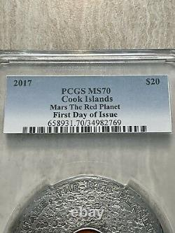 Mars The Red Planet Meteorites 3 Oz Silver Coin Cook Islands 2017 Pcgs Ms70 Fd