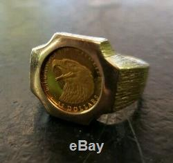 Mens Solid Gold 25 Dollar Cook Islands Bald Eagle Coin 10k Band Indian Size 10.5